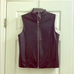 Ann Taylor black leather vest size small
